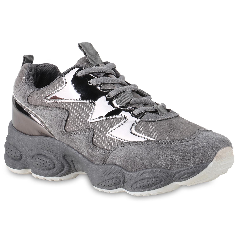 Damen Plateau Sneaker - Dunkelgrau