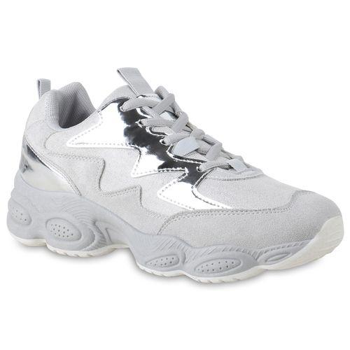 Damen Plateau Sneaker - Hellgrau