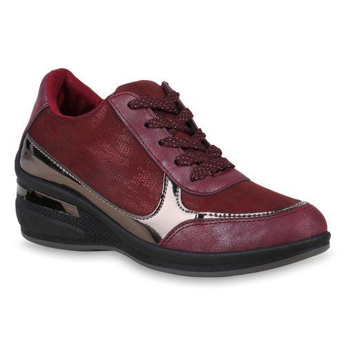 Damen Sneaker Wedges - Dunkelrot