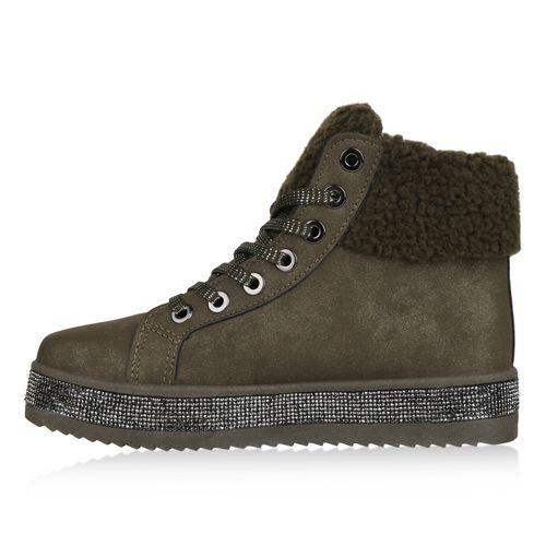 Damen Plateau Sneaker - Dunkelgrün
