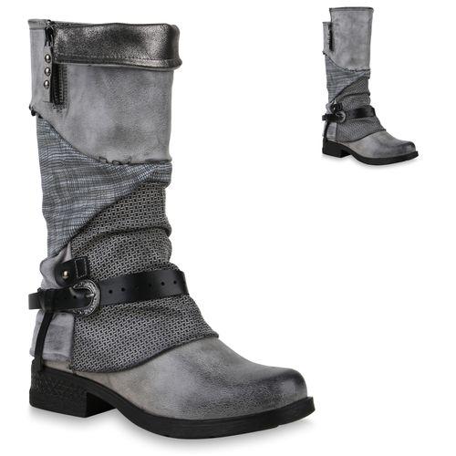 Damen Stiefel Bikerstiefel - Grau