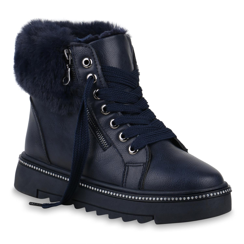 Damen Plateau Sneaker - Dunkelblau