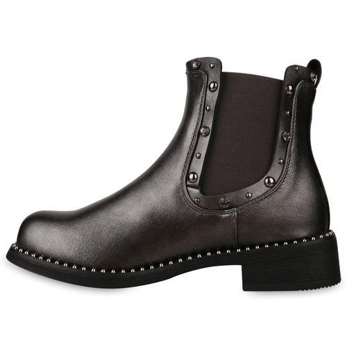 Billig Damen Schuhe Damen Stiefeletten in Grau Metallic 8241984769