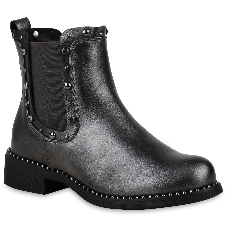 Stiefel für Frauen - Damen Stiefeletten Chelsea Boots Grau Metallic › stiefelpardies.de  - Onlineshop Stiefelparadies