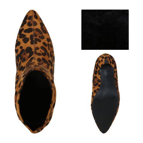 Damen Stiefeletten Schlupfstiefeletten - Leopard