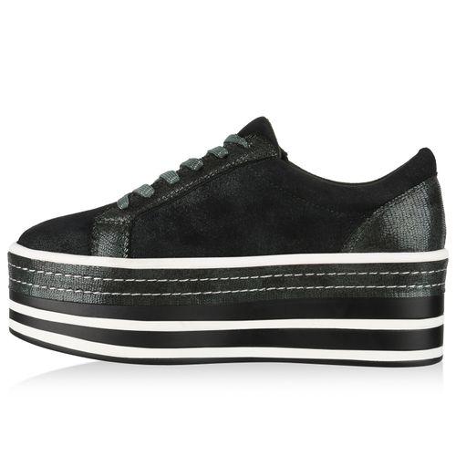 Damen Plateau Sneaker - Grün