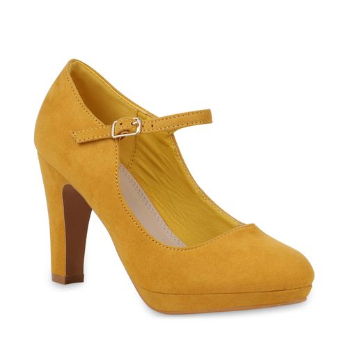 Damen Pumps Mary Janes - Gelb