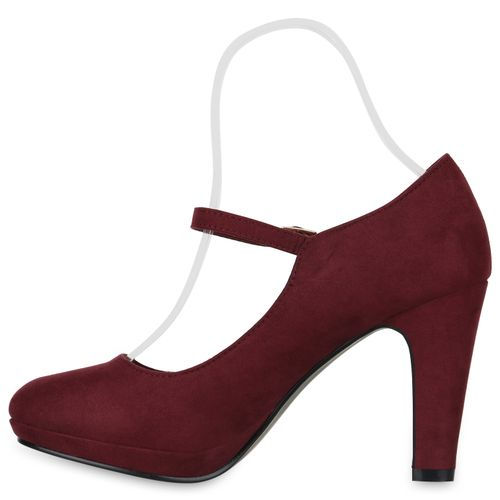 Damen Pumps Mary Janes - Dunkelrot