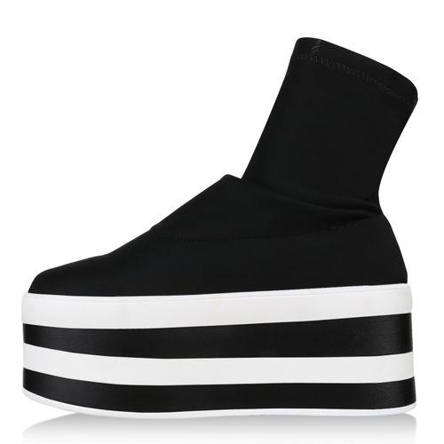Damen Sneaker Plateau Sneaker - Schwarz