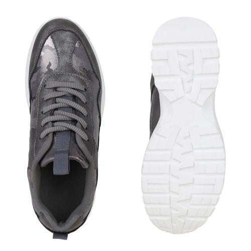 Damen Plateau Sneaker - Grau