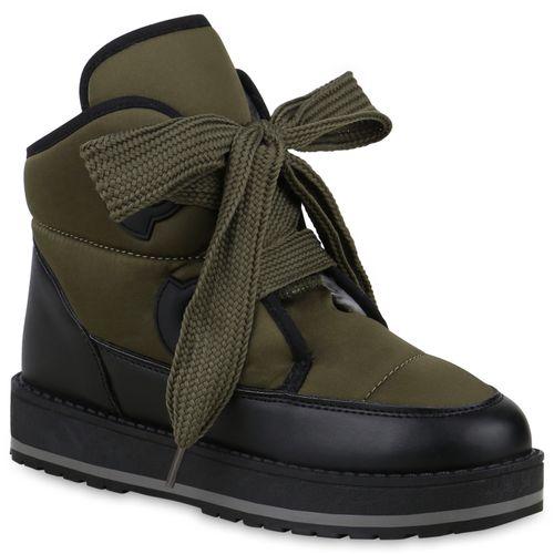 Damen Stiefeletten Winter Boots - Dunkelgrün