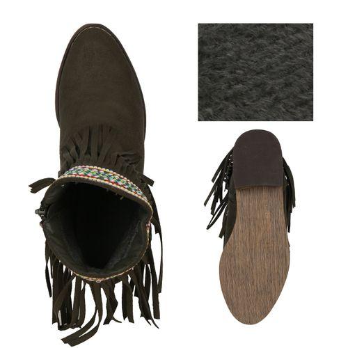 Damen Stiefeletten Ankle Boots - Dunkelgrün