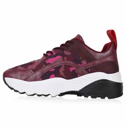 Damen Plateau Sneaker - Dunkelpink