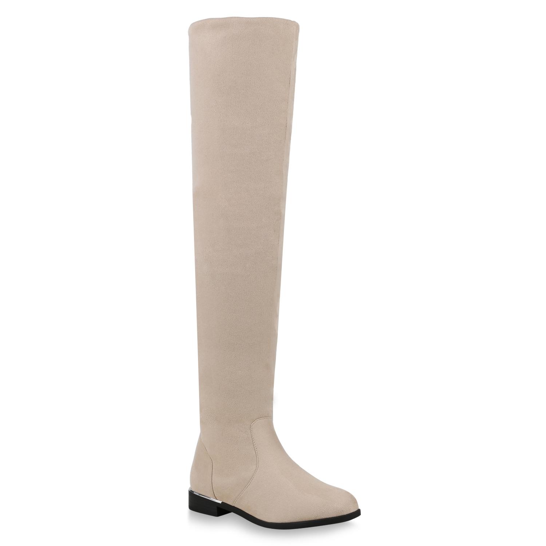 Damen Stiefel Overknees - Creme