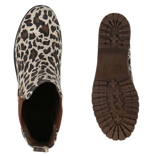 Damen Stiefeletten Chelsea Boots - Leopard
