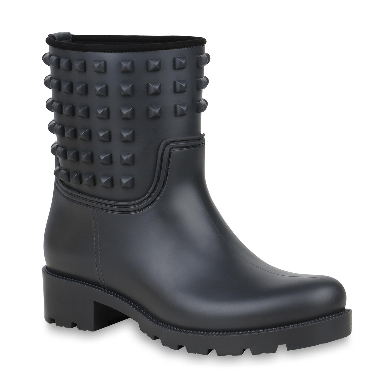 Stiefel für Frauen - Damen Stiefeletten Gummistiefeletten Dunkelgrau › stiefelpardies.de  - Onlineshop Stiefelparadies