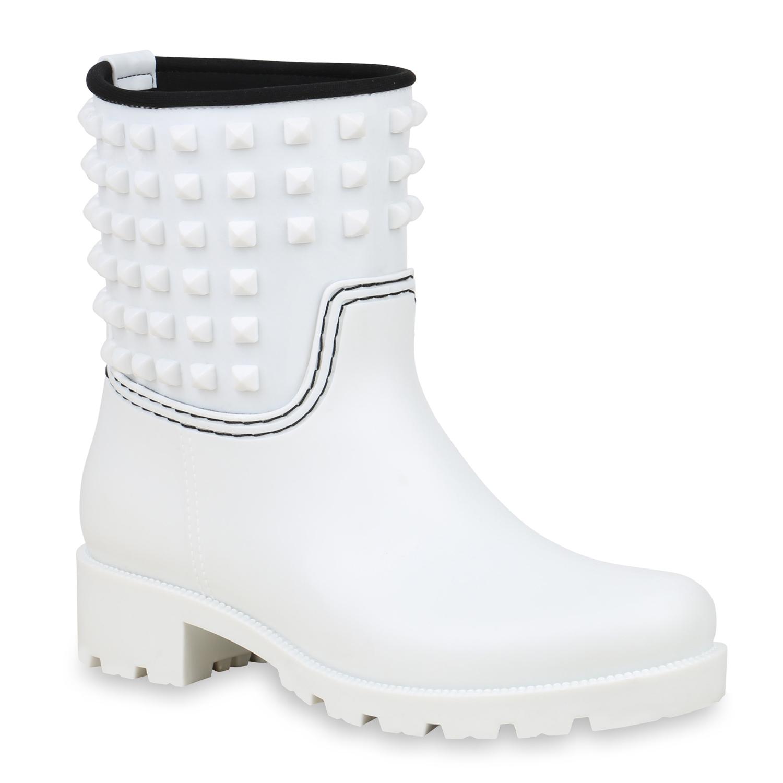 Stiefel für Frauen - Damen Stiefeletten Gummistiefeletten Weiß › stiefelpardies.de  - Onlineshop Stiefelparadies