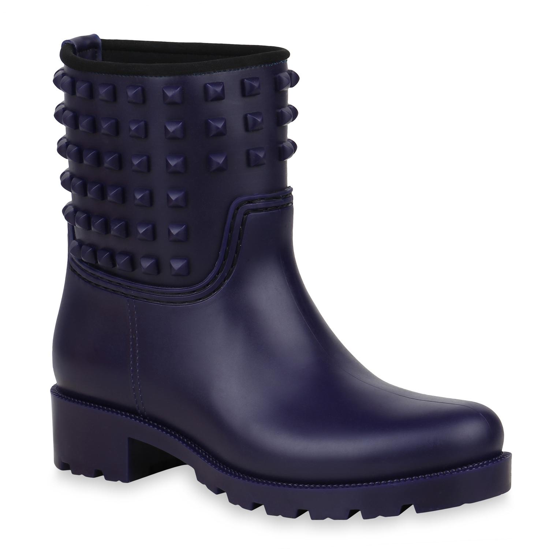 Stiefel für Frauen - Damen Stiefeletten Gummistiefeletten Dunkellila › stiefelpardies.de  - Onlineshop Stiefelparadies