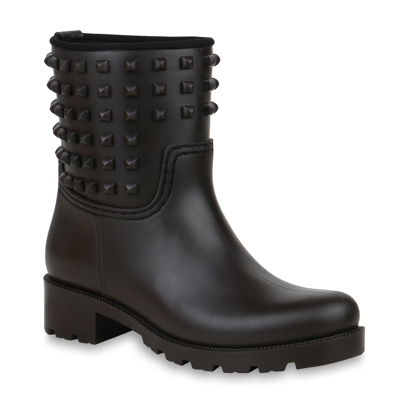 Stiefel für Frauen - Damen Stiefeletten Gummistiefeletten Dunkelbraun › stiefelpardies.de  - Onlineshop Stiefelparadies