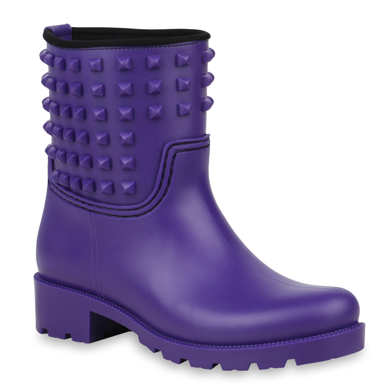 Stiefel für Frauen - Damen Stiefeletten Gummistiefeletten Lila › stiefelpardies.de  - Onlineshop Stiefelparadies