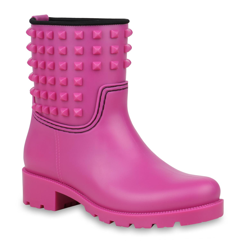 Stiefel für Frauen - Damen Stiefeletten Gummistiefeletten Pink › stiefelpardies.de  - Onlineshop Stiefelparadies