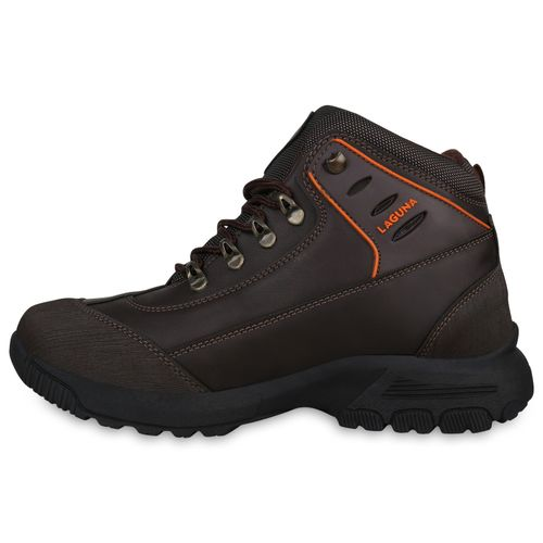 Herren Outdoor Schuhe - Dunkelbraun Orange Muster