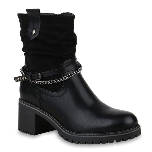 Biker Schwarz Damen Damen Stiefeletten Stiefeletten Boots txf1qwfO