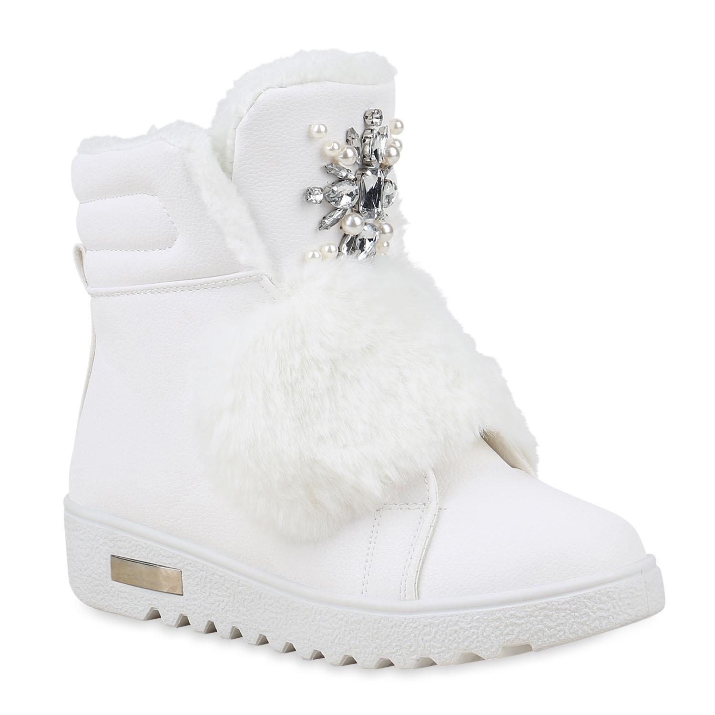 Damen Stiefeletten Winter Boots - Weiß