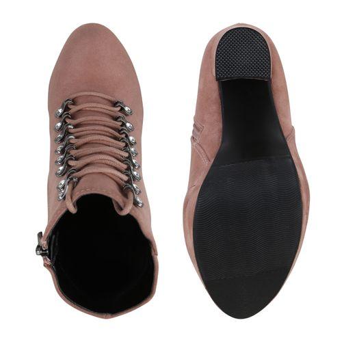 Damen Stiefeletten Plateau Boots - Rosa