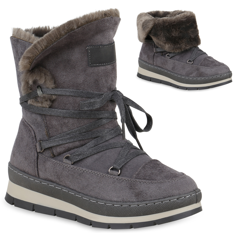 Damen Stiefeletten Winter Boots - Grau