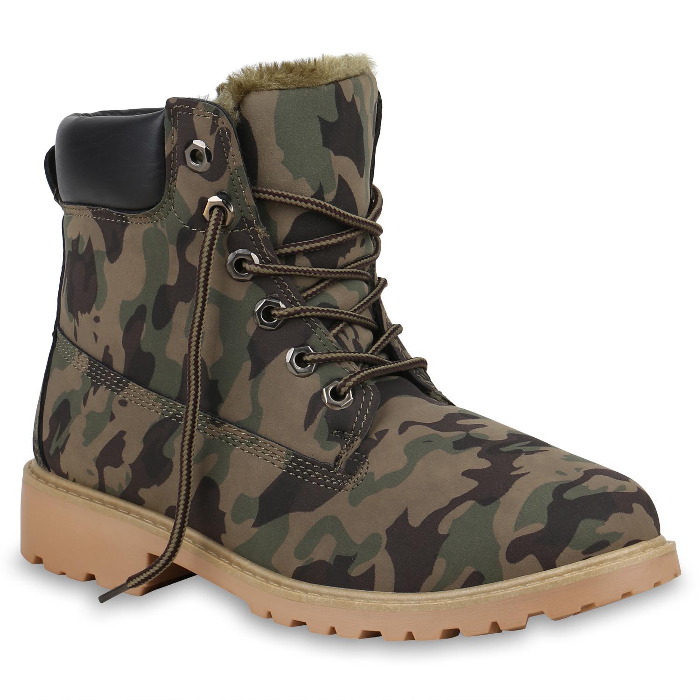 Damen Stiefeletten Worker Boots - Camouflage Hellbraun
