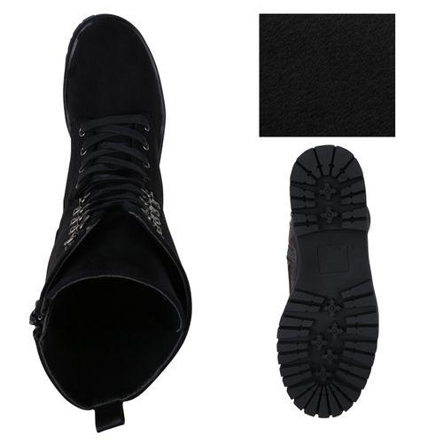 Damen Stiefel Schnürstiefel - Schwarz