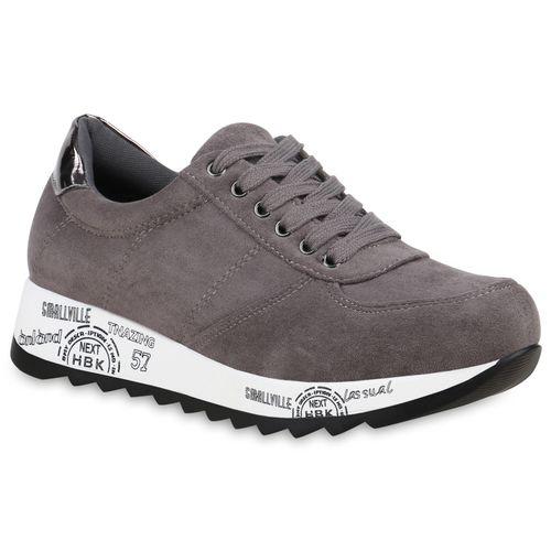 Grau Damen Plateau Sneaker Grau Plateau Damen Damen Sneaker npxw04Cfq