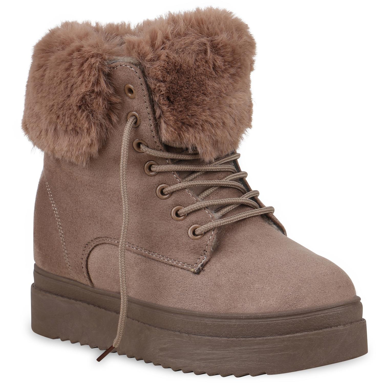 Stiefel - Damen Stiefeletten Winter Boots Khaki › stiefelparadies.de  - Onlineshop Stiefelparadies