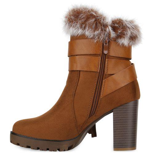 Boots Damen Plateau Stiefeletten Hellbraun Damen Stiefeletten IxHwZ0Fq