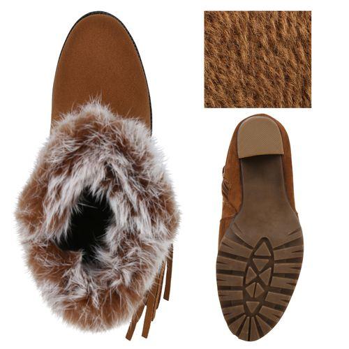 Damen Damen Hellbraun Boots Stiefeletten Stiefeletten Plateau PdTxnq6