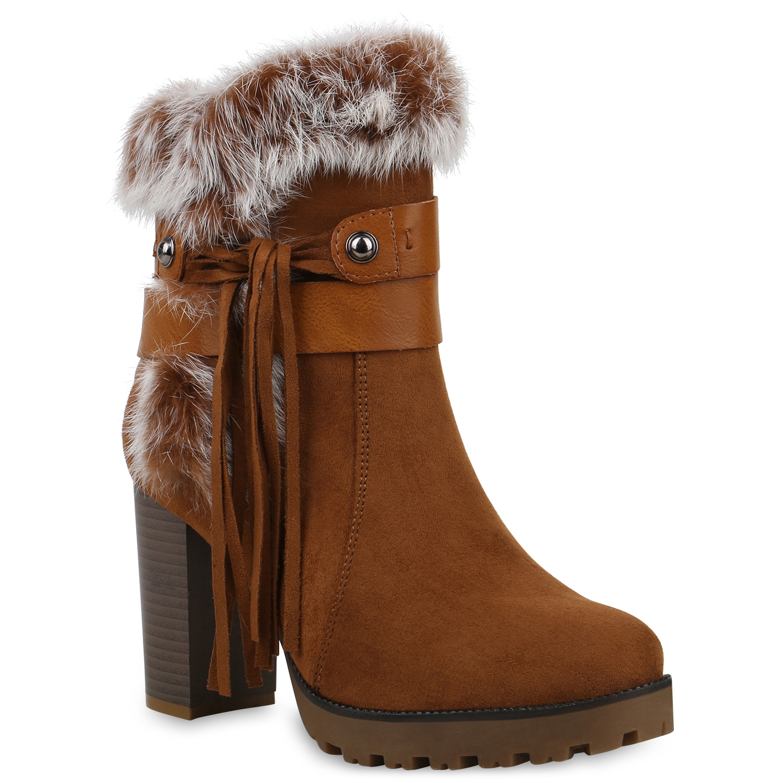 Stiefel - Damen Stiefeletten Plateau Boots Hellbraun › stiefelparadies.de  - Onlineshop Stiefelparadies