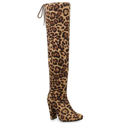 Damen Stiefel Overknees - Leopard