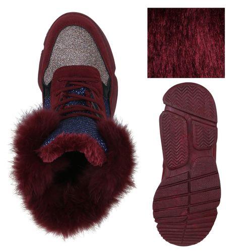Damen Plateau Sneaker - Dunkelrot