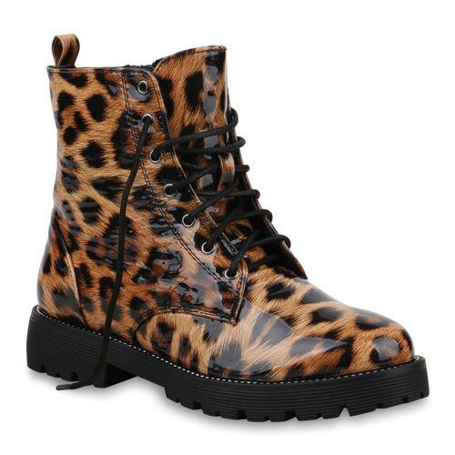 Damen Stiefeletten Worker Boots - Leopard Lack
