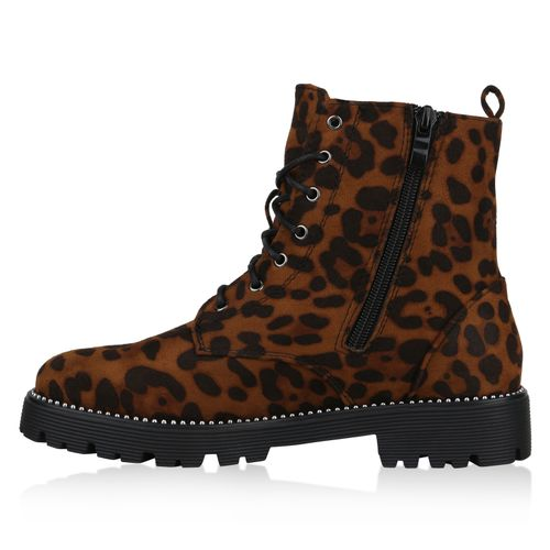 Damen Stiefeletten Worker Boots - Leopard Velours