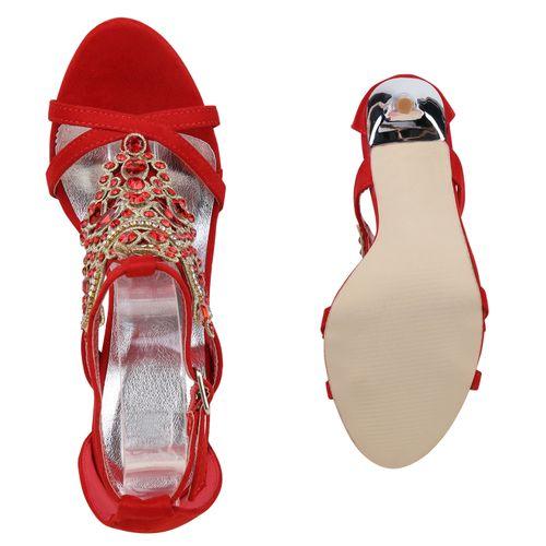 Sandaletten Rot Riemchensandaletten Damen Damen Sandaletten qw76g