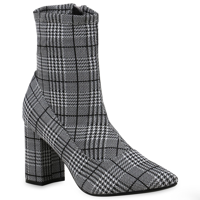 Stiefel - Damen Klassische Stiefeletten Schwarz Muster › stiefelparadies.de  - Onlineshop Stiefelparadies