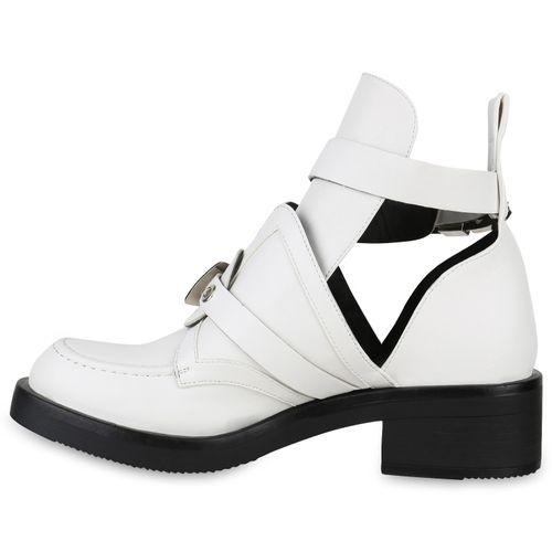 Damen Stiefeletten Ankle Boots - Weiß Silber