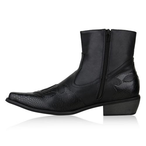 Herren Cowboy Boots - Schwarz