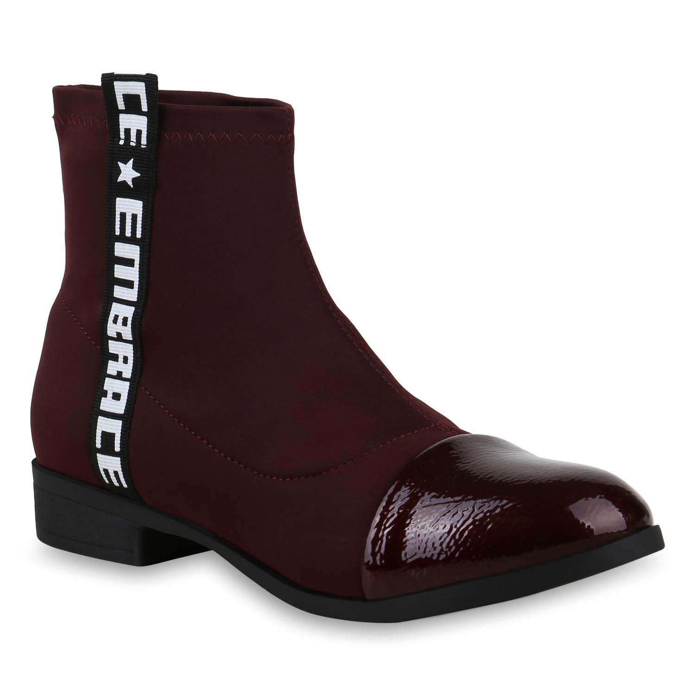Details zu Damen Stiefeletten Schlupfstiefel Sock Boots Prints Lack Booties 825241 Schuhe