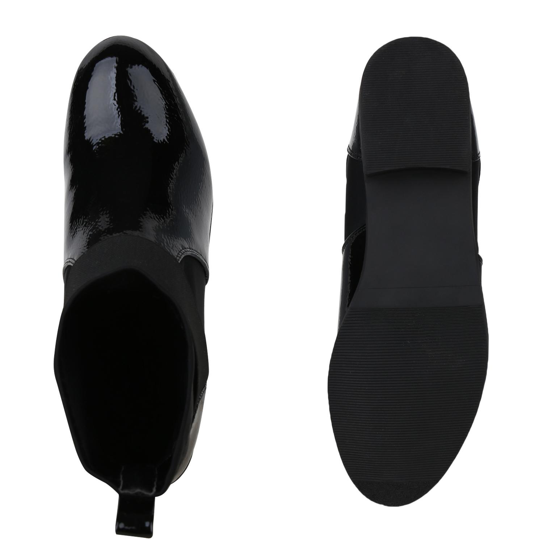 Details zu Damen Stiefeletten Schlupfstiefel Sock Boots Lack Booties 825251 Schuhe