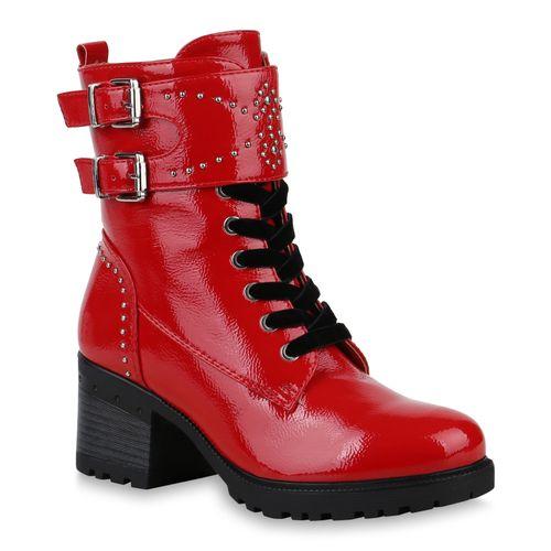 Damen Stiefeletten Schnürstiefeletten - Rot Lack