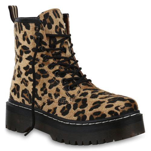 Damen Stiefeletten Plateau Boots - Leopard
