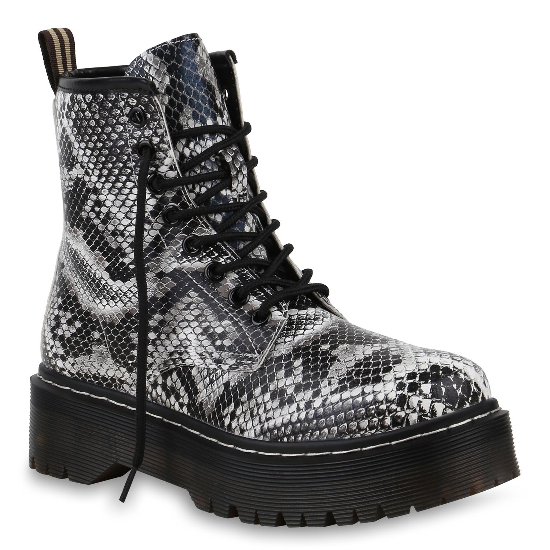 Damen Stiefeletten Plateau Boots - Schwarz Weiß Muster